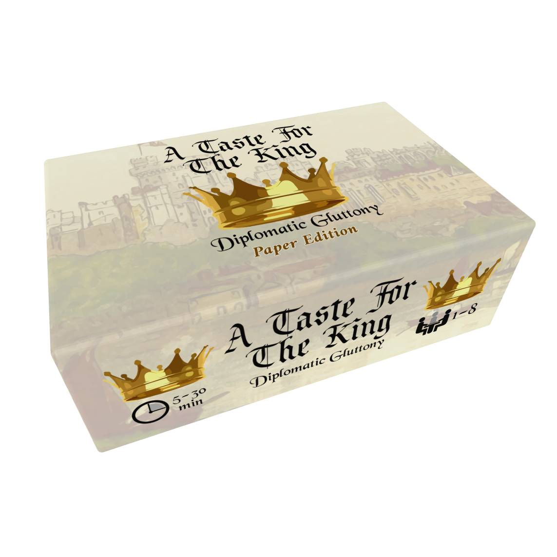 Mockup of the box art for the paper edition of A Taste for the King